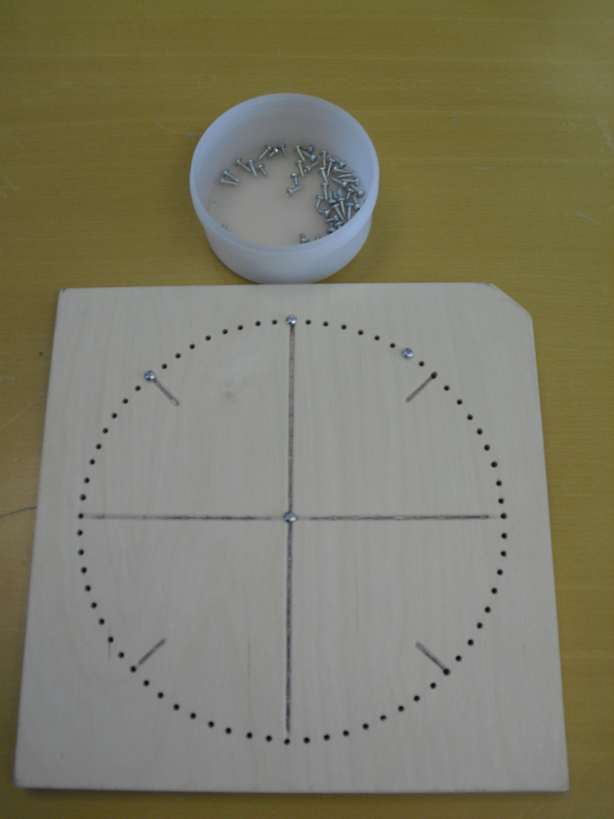 Homemade wooden board encarved with goniometric circle